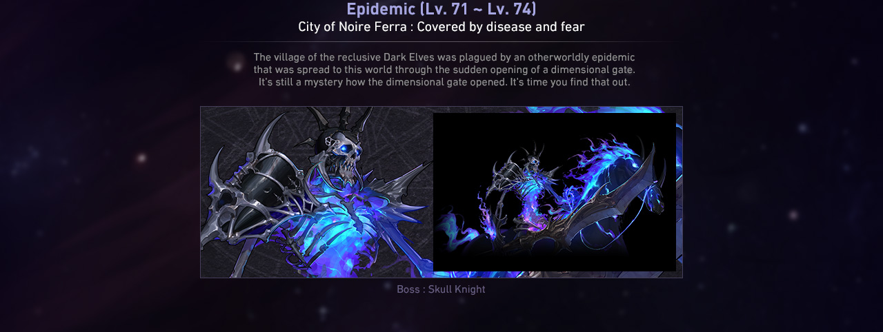 Epidemic (Lv. 71 ~ Lv. 74) City of Noire Ferra : Covered by disease and fear