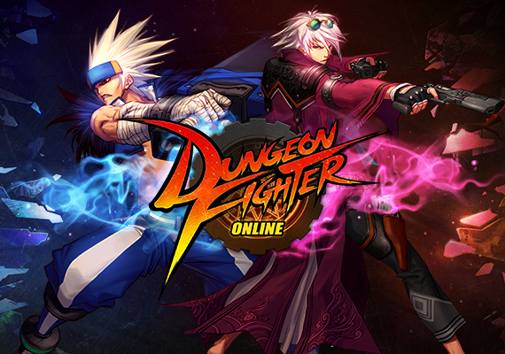 Promo art of Dungeon Fighter Online, featuring two of the playable classes, the male Slayer and male Gunner.
